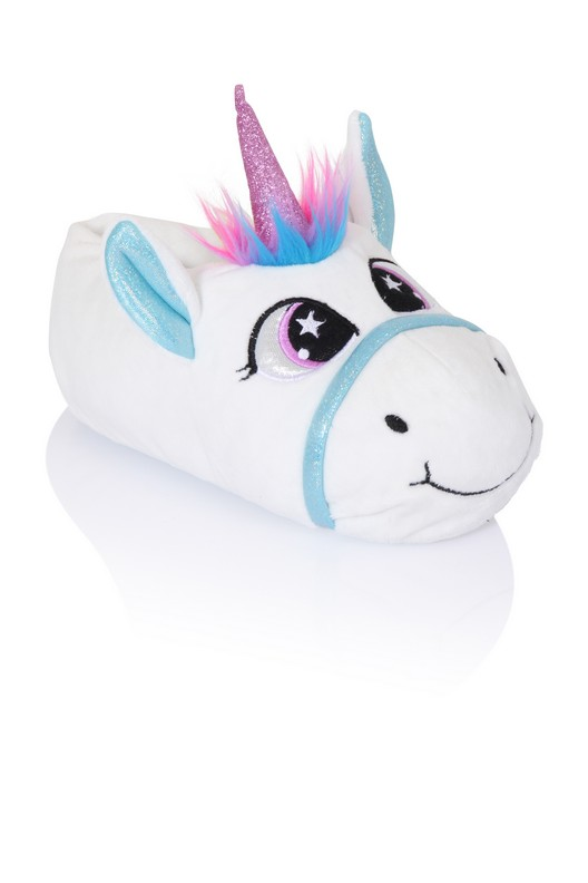 girls white unicorn slippers with embroidery detail. Black Bedroom Furniture Sets. Home Design Ideas